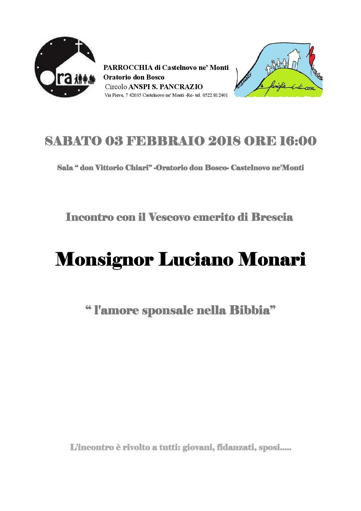 INCONTRO CON MONS. LUCIANO MONARI 3 febbraio 2018 (RIMANDATO CAUSA NEVE!)